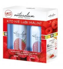 NATURALIUM Zestaw: malinowy żel pod prysznic, 500 ml + malinowy balsam do ciała, 370 ml