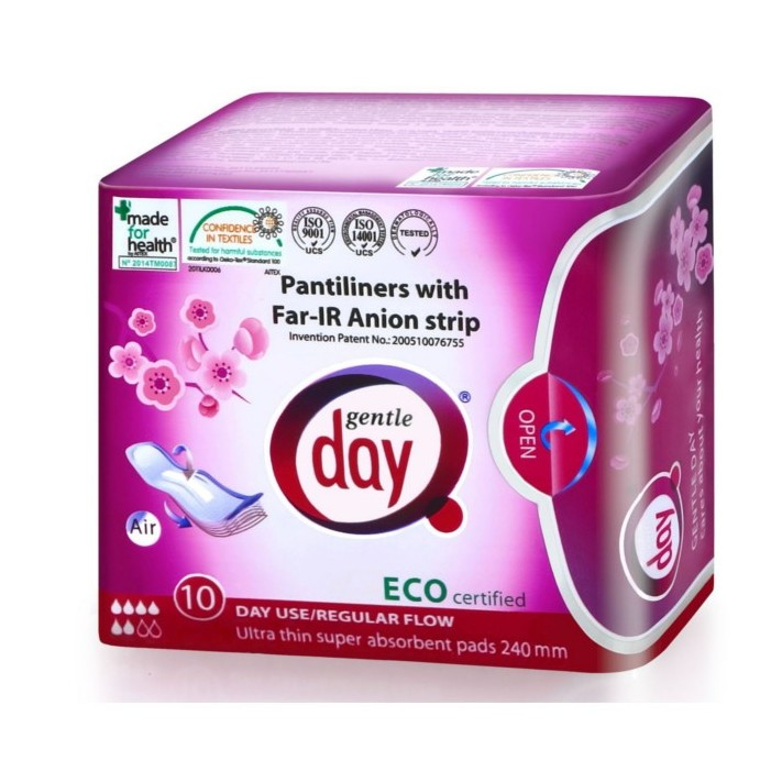 GENTLE DAY Podpaski ekologiczne na dzień z paskiem anionowym, 10 szt