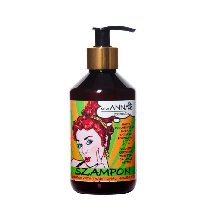 NEW ANNA COSMETICS Szampon z naftą kosmetyczną, ekstraktami z pokrzywy, tataraku i skrzypu, 300 ml
